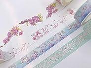 樱花 Sakura washi 胶带 4 卷装 超长胶带高达 394 英寸! 剪贴簿、工艺品、礼品包装、定制卡和邀请函。 移除后不留痕迹
