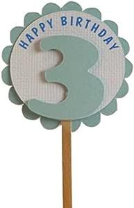 All About Details 3 岁生日纸杯蛋糕装饰,一套 12 件 Shimmer Light Blue 2in diameter with 2in skewer 7002385