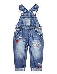 Kidscool Space 女婴可轻松更换尿布按扣腿部花朵刺绣牛仔裤