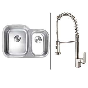 Ruvati RVC1502 不锈钢厨房水槽不锈钢水龙头套装