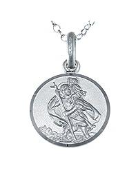 标准纯银圣克里斯托弗吊坠1.8英寸银色链条 gift box