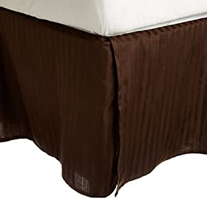 Egyptian Cotton 300 Thread Count Queen Bed Skirt Stripe, Mocha