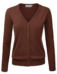 MAYSIX APPAREL 长袖纽扣 V 领针织毛衣女式开衫(S -3X,7 号)