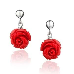 缤纷美饰-925银红珊瑚耳环-红玫瑰