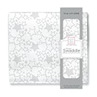 SwaddleDesigns Muslin Swaddle Blanket, Starshine, Sterling
