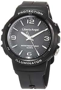[ALIAS]ALIAS 腕表 模拟 逆向天使 10个大气压防水 LED灯聚氨酯表带 黑色 ADWW18089-01