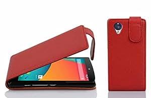Cadorabo Case Works LG Nexus 5(设计翻转扫描)2 个卡槽 - Etui 保护套袋 PU 皮革翻转DE-101580 CANDY-APPLE-RED