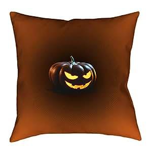 ArtVerse Katelyn Smith Jack-o-Lantern 35.56 cm x 35.56 cm Pillow-Spun 涤纶双面印花带隐藏式拉链和嵌入