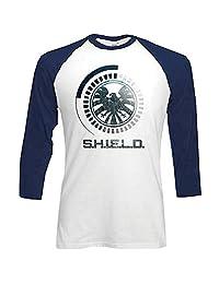 Rockoff Trade 男式 S.h.i.e.l.d. 符号插肩袖棒球七分袖 T 恤
