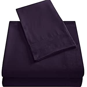 豪华床单套装 - 深口袋-超柔炫抗皱-低*性*店床单-4 件套 紫色 King 43195-17443