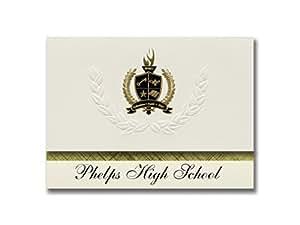 签名公告 Phelps 高中(Phelps、KY)毕业公告,25 件装带金色和黑色金属箔印章,6.25 x 11.44 英寸,奶油色 (PAC_BASICPres_HS25_111882_206041)