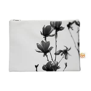 """Kess InHouse Everything Bag Flat Pouch by Monika Strigel 8.5 x 6 Inches """"Mulan Magnolia"""" White Gray (MS2052AEP01)"""