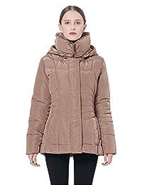 Orolay 女式短款羽绒服冬季夹克带可拆卸兜帽
