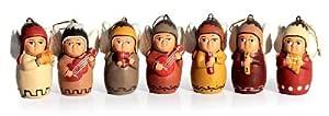 NOVICA 陶瓷装饰品,7 件套,天使乐队装饰(175114-P) 多种颜色 HAM0049
