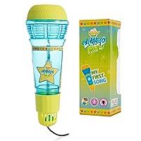 Funky Toys Echo Mic 适合儿童和学步儿童,魔法麦克风玩具,带多色闪光灯和有趣的摇铃 - 半透明蓝色和黄色 - 送给喜欢歌唱和音乐的男孩和女孩的*礼物