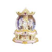 YOUDirect 旋转音乐盒旋转木马水晶球雪球,带天空音城堡和发光变色完美适合生日礼物情人节 金色