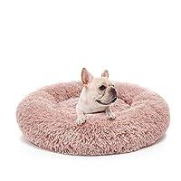 宠物舒缓床,柔软毛绒甜圈圆形抱枕,适用于猫狗,可水洗,防滑防水底部 浅粉色 XL-Diameter 70CM/27.6''
