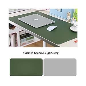 UnionBasic 可卷起桌垫,PU 皮革,带两侧颜色,易于携带和存放 L Blackish Green/Light Grey