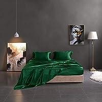 THXSILK 丝绸床单 4 件套,19 姆米丝绸床单,豪华床上用品 - 超柔软,耐用 - * *桑蚕丝 祖母绿 Queen 09507