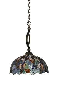 Toltec Lighting 271-BC-948 弓单灯吊灯黑色铜色饰面带皇室水手丝玻璃 蓝色马赛克 16 英寸 271-BC-995