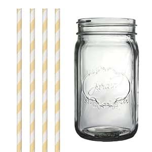 Dress My Cupcake DMC34970 Clear Vintage Jardin Mason Jar with Yellow Striped Straws, 32-Ounce