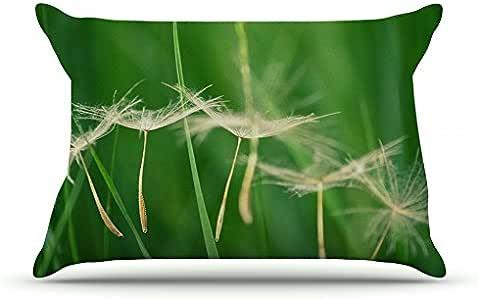 Kess InHouse Robin Dickinson Best Wishes 绿色花朵 91.44 x 50.8 厘米枕套,大号
