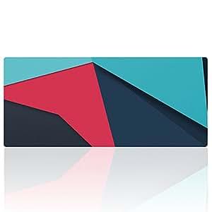 "Cmhoo XL 鼠标垫大号防滑橡胶鼠标垫缝边加长鼠标垫,采用优化纹理表面 35.4 x 15.7 x 0.1"" 90x40 Bluered004"