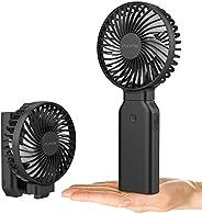 FUNMONE 手持式电池风扇便携式USB风扇可折叠支持53小时使用,9000mAh可充电电池+*一键式电源关闭功能+4档风度强,黑色