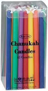 Rite-Lite Judaica Deluxe Chanukah Candles, Multicolor. Box of 45` 多色