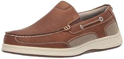 Dockers 男士 Tiller 皮革休闲一脚蹬乐福鞋船鞋带 NeverWet 灰褐色 Dark Tan 疯马 7 M US