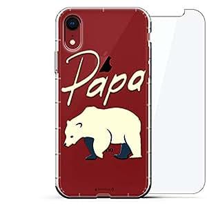 豪华设计师,3D 印花,时尚,气袋垫,360 玻璃保护膜套装手机壳 iPhone XR - 透明阿尔巴尼亚国旗LUX-I9AIR360-BEAR3 Papa Bear 透明