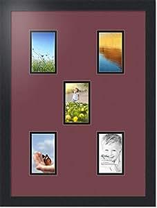 ArtToFrames 拼贴照片框双垫,带 5 个开口和黑色缎框。 枫叶 5-3x5 Double-Multimat-62-594/89-FRBW26079