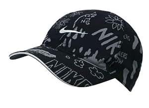 Nike 男式 U NK 羽毛光帽图案帽,黑色/反光银色,均码