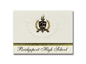 签名公告 Bridgeport 高中(Bridgeport,WA)毕业宣布,总统风格,25 件装基本包装带金色和黑色金属箔封条