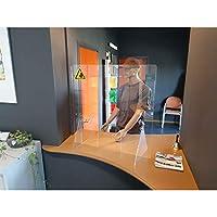 Jalema透明反伞亚克力带透视 750x800 毫米 | 防护罩 | 防溅保护 | 防*保护 | 柜台附件 | *毒保护 | 黄色-黑色警告贴纸