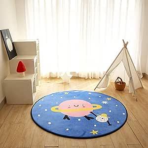 YOHA 天鹅绒柔软儿童游戏垫圆形地毯防滑爬行地毯客厅地毯小地毯育儿地毯 Planet Diameter-2.6' rorugplanet8