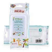 Nuby *安抚奶嘴和牙胶湿巾,香草牛奶,48 片装 96 Count 96
