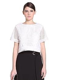 Five Plus 女式 蕾丝拼接短款宽松圆领短袖衬衫 2HL2014310