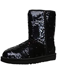 UGG 女士 W 经典亮片时尚短靴 黑色 9 M US