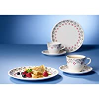 Villeroy & Boch 德国唯宝 Artesano Montne 早餐双人套装,6 件套,优质瓷器,白色/灰色