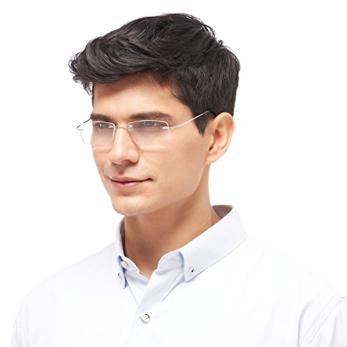 恋上LianSan 老花镜 男女款 眼镜 无框 老花眼镜 钛架 阅读镜 树脂镜片 男士 女士 通用 老花镜 LMO-013 银色 150°