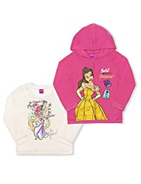 Disney Princess 女童 2 件套拉链连帽衫和圆领运动衫套装