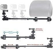 ChargerCity GoPro Fusion Session Hero6 Hero5 Hero 6 5 4 3 *双柱锁伸缩式头枕支架带滑动铝臂(兼容所有 Gopro 英雄/赛情相机包)