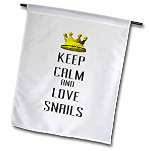 blonde Designs 金皇冠适用于 KEEP CALM LOVE animals – 金皇冠 KEEP CALM and LOVE snails – 旗帜 12 x 18 inch Garden Flag