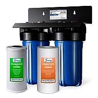 iSpring WGB21B 2 级全屋净水系统带 4.5 英寸 x 10 英寸沉淀物和碳块过滤器