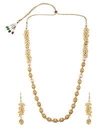 Efulgenz 时尚印度宝莱坞 14 K 镀金人造珍珠新娘珠串宣言项链耳环婚礼珠宝套装