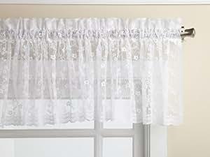 Lorraine Home Fashions Priscilla 60-inch x 12-inch Valance, White