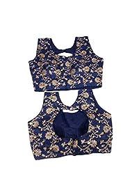 女士派对服成品宝莱坞设计师印度风格加垫衬衫纱丽露脐上衣巧克力色 175 蓝色