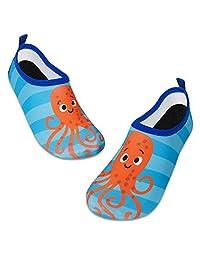 儿童水上游泳鞋赤脚水袜鞋快干防滑婴儿男孩和女孩 橙色章鱼 9.5-10 Toddler