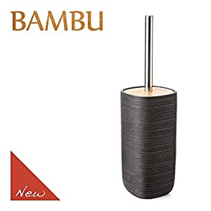 Tatay–composed OF 沐浴套装分配器,玻璃杯和肥皂盒高品质 polyresin 组合带木 BAMBOO 系列,,深石墨灰带亚光表面